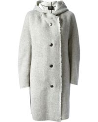 Lanvin Gray Hooded Coat - Lyst