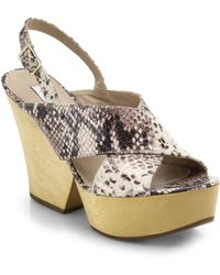 Diane von Furstenberg Liberty Wooden-Heel Snake-Embossed Leather Sandals - Lyst
