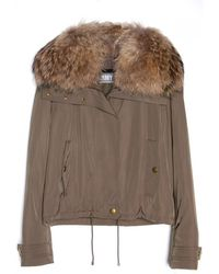 Yves Salomon Nylon Jacket With Fur Collar - Lyst