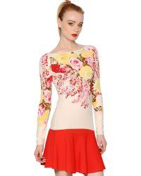Blumarine Floral Printed Viscose Sweater - Lyst