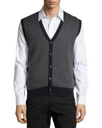 Neiman Marcus | Textured V-neck Button-front Vest | Lyst