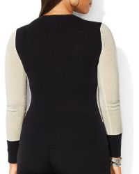 Ralph Lauren Lauren Plus Cashmere Color Block Sweater - Lyst