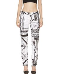 Versus  White and Black Mixed Print Jeans - Lyst