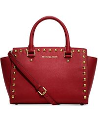 Michael Kors Michael Selma Stud Medium Top Zip Satchel - Lyst