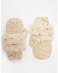 French Connection | Helda Knit And Faux Fur Mittens | Lyst