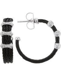 Charriol Celtic Noir 18K White Gold And Black Stainless Steel Cable 0.09Tcw Hoop Earrings - Lyst
