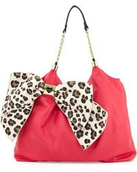 Betsey Johnson Bow Tie Fauxleather Tote - Lyst