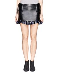 Toga Archives Lace Weave Eyelet Leather Skirt - Lyst
