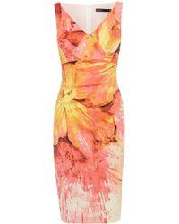 Karen Millen Painterly Splash Floral Print Dress - Lyst