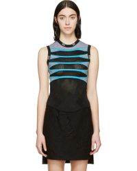 Alexander Wang Black Mesh Engineered Tank Top - Lyst