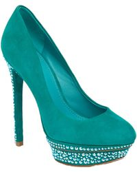 B Brian Atwood Francoise Green Suede - Lyst