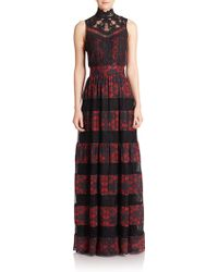 alice + olivia Briella Print & Lace Inset Gown red - Lyst