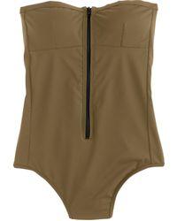 J.Crew Italian Matte Bandeau Zip One-Piece Swimsuit - Lyst