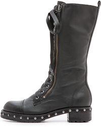 DKNY Halen Combat Boots  Black - Lyst