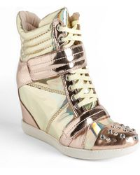 Boutique 9 - Nevan Metallic Leather Wedge Sneakers - Lyst