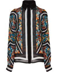 Elie Saab Printed Double Silk Georgette Long Sleeve Blouse - Lyst