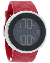 Gucci Men'S 114 Series Red Rubber Digital Dial - Lyst