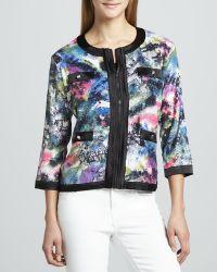 Michael Simon - Sequined Print Zip Jacket Petite - Lyst