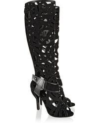 Nicholas Kirkwood Gabo Laser-cut Suede Knee Boots - Lyst