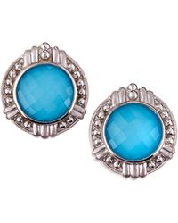 Judith Ripka Large Round Turquoise Doublet Earrings - Lyst