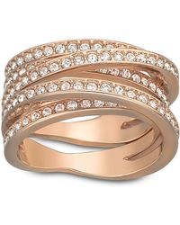 Swarovski Spiral Crystal And Rose Gold-Tone Ring Size 6 - Lyst