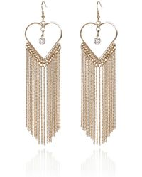 River Island Gold Tone Tassel Heart Earrings - Lyst