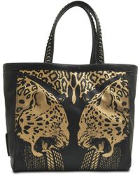 Roberto Cavalli Flo Jaguar Print Leather Tote Bag - Lyst
