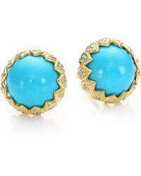 Ila & I Leena Turquoise, Diamond & 14K Yellow Gold Stud Earrings blue - Lyst