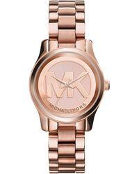 Michael Kors Women'S Mini Runway Rose Gold-Tone Stainless Steel Bracelet Watch 33Mm Mk3334 - Lyst