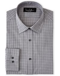 Nicole Miller Grey  Black Plaid Modern Fit Dress Shirt - Lyst