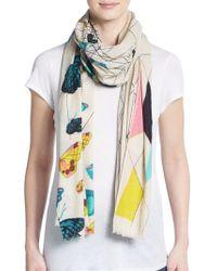 Mir - Geometric Butterfly-print Cashmere & Wool Scarf - Lyst