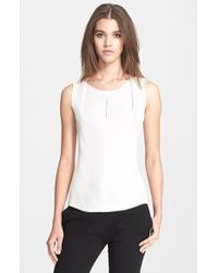 Narciso Rodriguez Pleated Neck Silk Georgette Shell - Lyst