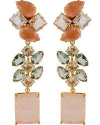 Bounkit Rose Quartz, Green Amethyst, And Clear Quartz Drop Earrings - Lyst