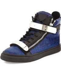 Giuseppe Zanotti Men'S Croc-Embossed High-Top Sneaker - Lyst
