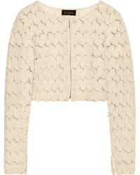 Saloni - Cropped Appliquéd Tulle Jacket - Lyst