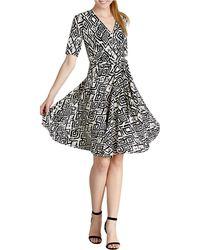 Donna Morgan Geo Print Jersey Wrap Dress - Lyst
