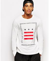 Asos Long Sleeve Tshirt with Stars and Stripe Print - Lyst
