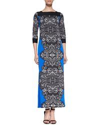 Melissa Masse Print Jersey Laceborder Long Dress - Lyst
