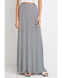 Forever 21 Stripe Ribbed Knit Maxi Skirt - Lyst