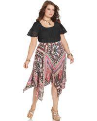 American Rag - Plus Size Printed Handkerchiefhem Skirt - Lyst