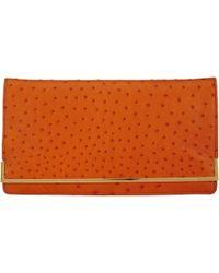 Zagliani - Ostrich Boheme Clutch-Orange - Lyst
