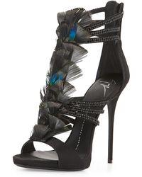 Giuseppe Zanotti Coline Crystal-Embellished Strappy Feather Sandal - Lyst