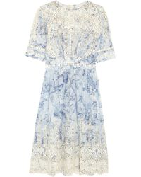 Zimmermann Confetti Embroidered Floral-Print Cotton Dress - Lyst