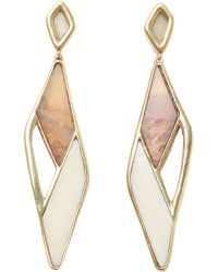 Maiyet - White Bone & Petrified Wood Mosaic Earrings - Lyst