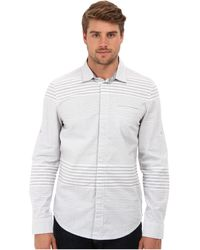 Calvin Klein Jeans Striped Ls Concealed Button Down Shirt - Lyst