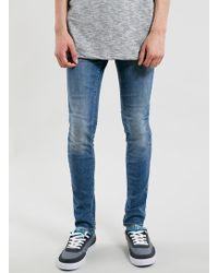 Topman Mid Wash Spray On Skinny Jeans - Lyst