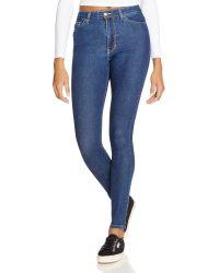 American Apparel - Stretch Denim Pencil Jeans In Dark Stone Washed Indigo - Lyst