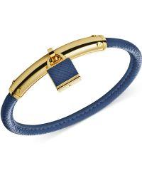 Michael Kors Gold-Tone Leather Padlock Bangle Bracelet - Lyst