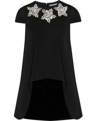 Alexander McQueen Crystalembellished Stretchwool and Velvet Mini Dress - Lyst