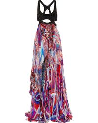 Emilio Pucci Sequinembellished Printed Silkblend Chiffon Gown - Lyst